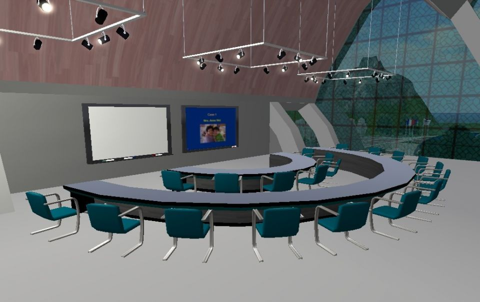 Scene from a learning space in The Health Grid, an OpenSim based virtual environment for health care educators (http://www.thehealthgrid.org).